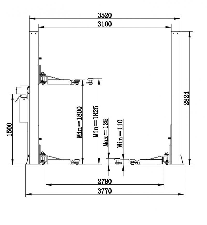 Подъёмник 2-х стоечный электрогидравлический FLYING T5.5