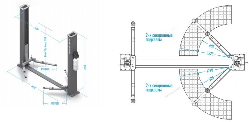 Подъёмник 2-х стоечный электрогидравлический NORDBERG  4120B-4T 220V