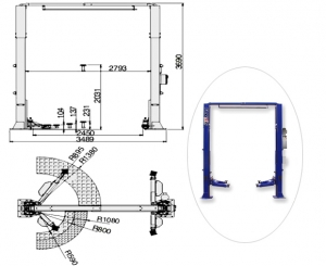 Подъёмник 2-х стоечный электрогидравлический FLYING S4.5-2E