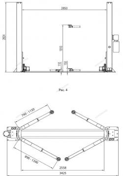 Подъёмник 2-х стоечный электрогидравлический NORDBERG N4121B-4T 380V